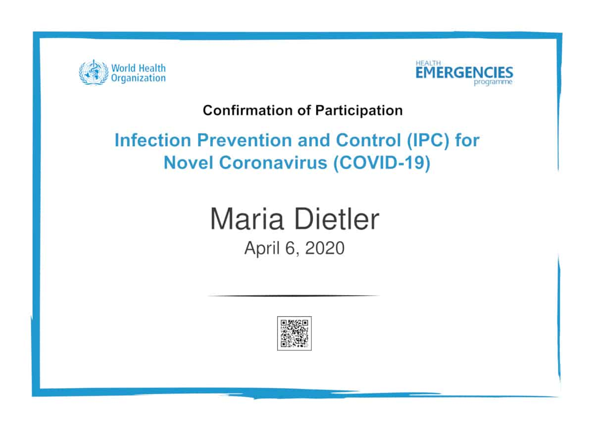 WHO Infection Prevention and Control Certificate Covid-19