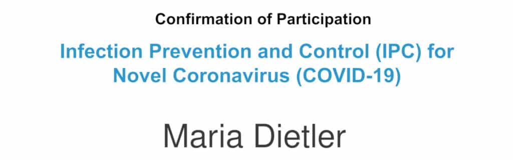 WHO Infection Prevention and Control Certificate